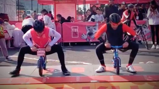 Alberto Contador Dropping Andy Schleck on a Child's Balance Bike